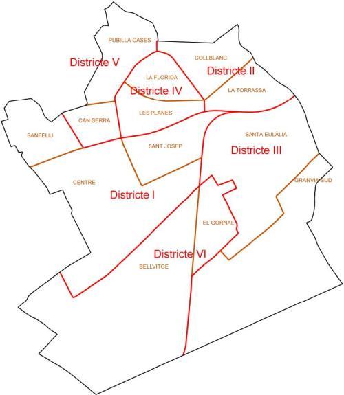 Mapa De L Hospitalet.Plano De Los Barrios Ajuntament De L Hospitalet