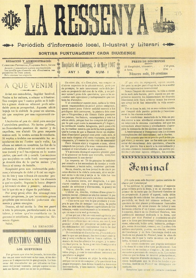 La Ressenya de L'Hospitalet (1907). Hemeroteca