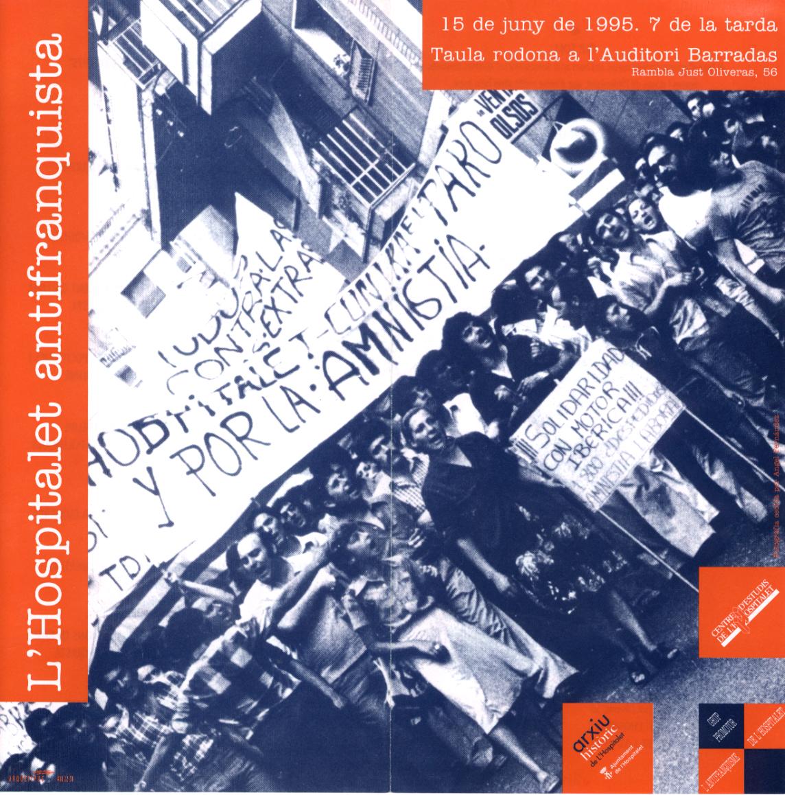 Fons d'institucions i d'entitats. Cartell primera convocatòria Grup L'Hospitalet Antifranquista (15-6-1995). R-2796
