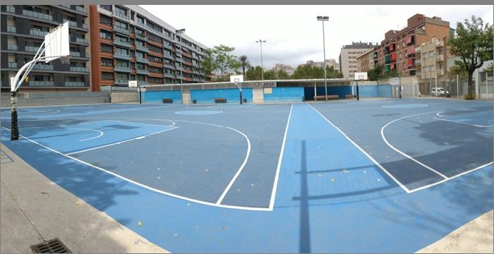 View of three basketball courts