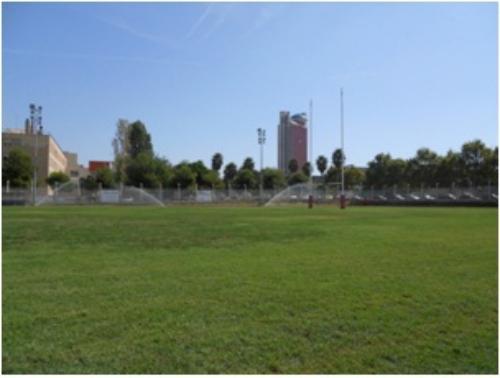 Camp Municipal Rugby amb els aspersors en marxa