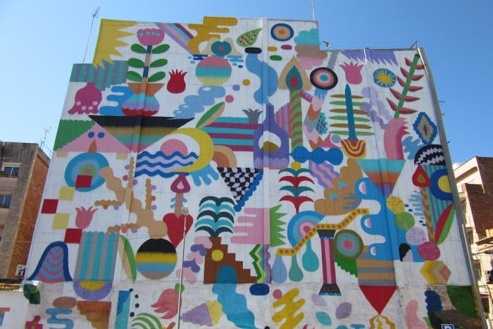 er imágen de Arte urbano en la Torrassa con Mina; Hamada Zosen y Oiterone